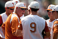 Texas Longhorns coach Auggie Garrido talks to his team during the NCAA baseball game against the Texas A&M Aggies on April 28, 2012 at UFCU Disch-Falk Field in Austin, Texas. The Aggies beat the Longhorns 12-4. (Andrew Woolley / Four Seam Images).