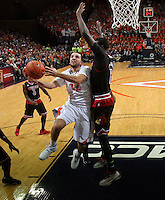 Virginia  guard London Perrantes during the game Saturday Feb. 7, 2015, in Charlottesville, Va. Virginia defeated Louisville  52-47. (Photo/Andrew Shurtleff)