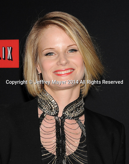LOS ANGELES, CA- FEBRUARY 13: Actress Joelle Carter arrives at the 'House Of Cards' Season 2 special screening at Directors Guild Of America on February 13, 2014 in Los Angeles, California.
