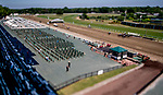 July 18, 2020: Normally packed with 60,000 on its biggest race day, Monmouth Park stands mostly empty as horses run in the second race on the card. The coronavirus pandemic required limiting fans to 5,000 on Haskell Invitational Day at Monmouth Park Racecourse in Oceanport, New Jersey. Far less showed up. Scott Serio/Eclipse Sportswire/CSM (Image made with a variable plane tilt shift adapted lens.)