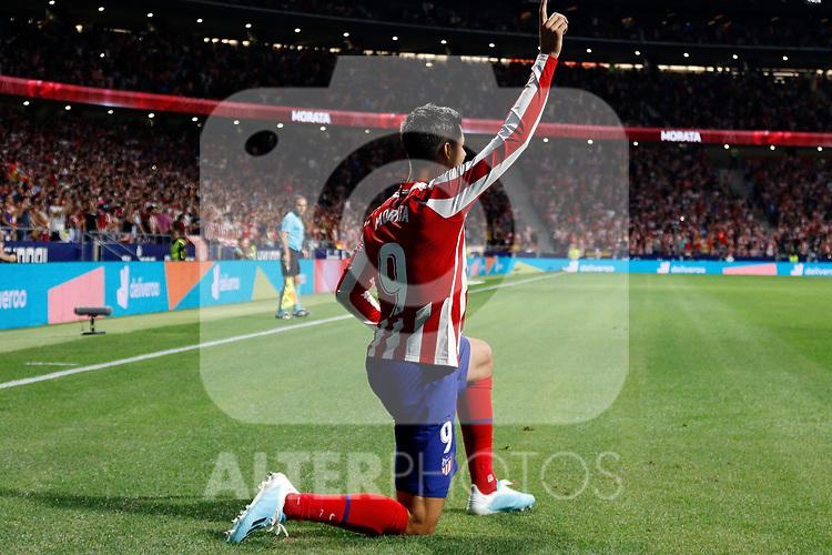 Atletico de Madrid's Alvaro Morata during La Liga match. Aug 18, 2019. (ALTERPHOTOS/Manu R.B.)Atletico de Madrid's Alvaro Morata celebrates after scoring a goal during the Spanish La Liga match between Atletico de Madrid and Getafe CF at Wanda Metropolitano Stadium in Madrid, Spain