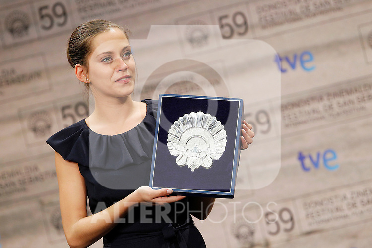"Spanish actress Maria Leon Silver Shell for Best Actress for ""La voz dormida""  during the 59th San Sebastian Donostia International Film Festival - Zinemaldia.September 24,2011.(ALTERPHOTOS/ALFAQUI/Acero)"