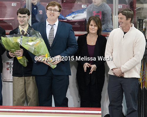 Peter Igo (BC - Manager), Grant Slingerland (BC - Manager) -  The Boston College Eagles defeated the visiting Boston University Terriers 5-0 on BC's senior night on Thursday, February 19, 2015, at Kelley Rink in Conte Forum in Chestnut Hill, Massachusetts.