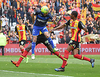 20170415 - LENS , FRANCE : Lens' Jean Kevin Duverne (R) and Auxerre's Lionel Mathis (L) pictured during the soccer match between Racing Club de LENS and AJ Auxerre , on the thirty third matchday in the French Dominos pizza Ligue 2 at the Stade Bollaert Delelis stadium , Lens . Saturday 15 April 2017 . PHOTO DIRK VUYLSTEKE | SPORTPIX.BE