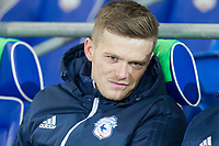 Rhys Healey of Cardiff City on the bench ahead of the Sky Bet Championship match between Cardiff City and Preston North End at the Cardiff City Stadium, Cardiff, Wales on 29 December 2017. Photo by Mark  Hawkins / PRiME Media Images.
