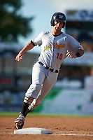 West Virginia Black Bears catcher Chris Harvey (10) running the bases during a game against the Batavia Muckdogs on August 21, 2016 at Dwyer Stadium in Batavia, New York.  West Virginia defeated Batavia 6-5.  (Mike Janes/Four Seam Images)