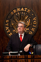 TALLAHASSEE, FLA. 5/3/13-SESSIONEND050313CH-Sen. Senate President Don Gaetz, R-Niceville, listens to debate during the final day of the legislative session May 3, 2013 at the Capitol in Tallahassee...COLIN HACKLEY PHOTO