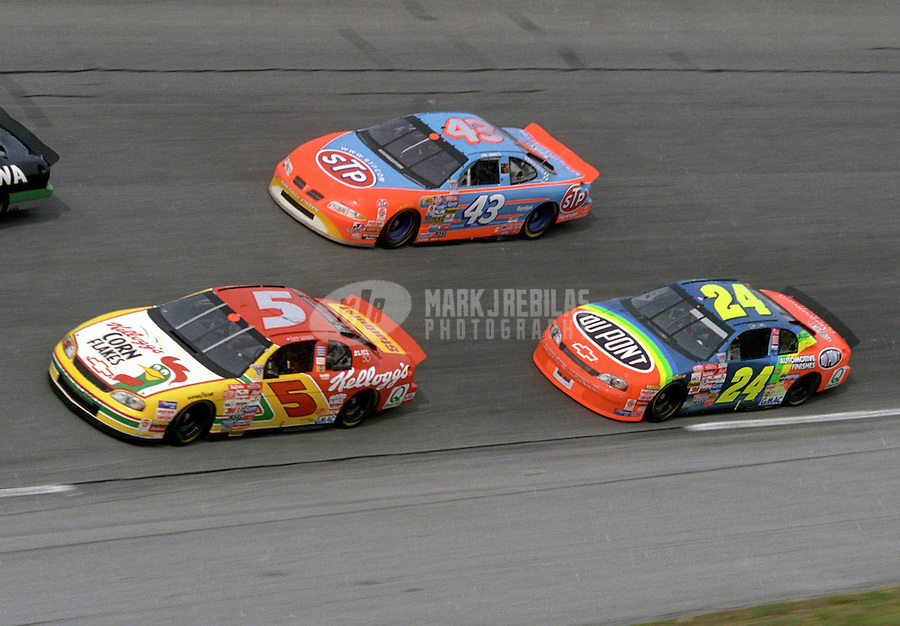 Feb. 14, 1998; Daytona Beach, FL, USA; NASCAR Winston Cup Series driver Terry Labonte (5) leads John Andretti (43) and Jeff Gordon (24) during practice for the Daytona 500 at the Daytona International Speedway. Mandatory Credit: Mark J. Rebilas-
