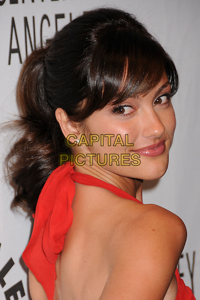 "MINKA KELLY.The 25th Annual Paley TV Festival Presents ""Friday Night Lights"" at Arclight Cinemas, Hollywood, California, USA..March 19th, 2008.headshot portrait red halterneck looking over shoulder .CAP/ADM/BP.©Byron Purvis/AdMedia/Capital Pictures."