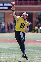 College Park, MD - April 27, 2019: Maryland Terrapins quarterback Max Bortenschlager (18) throws a pass during the spring game at  Capital One Field at Maryland Stadium in College Park, MD.  (Photo by Elliott Brown/Media Images International)