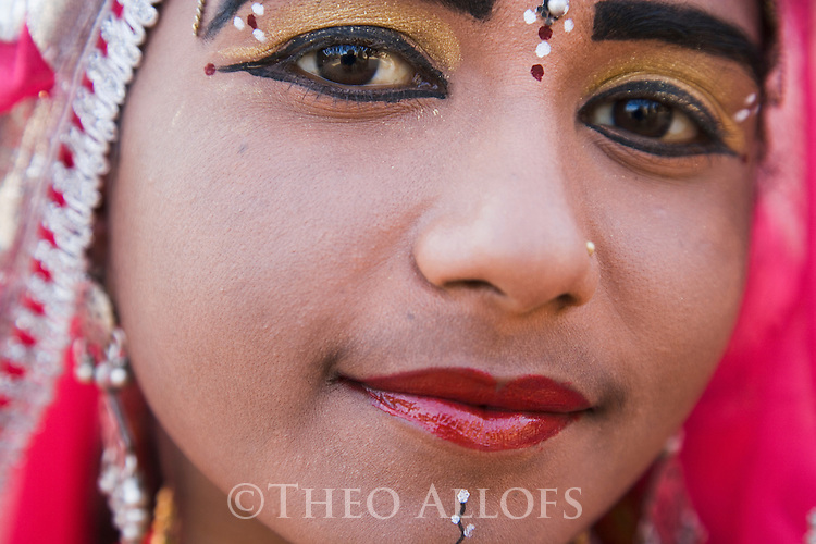 Rajasthani dancer wearing make-up, close-up of face, Thar Desert, Rajasthan, India --- Model Released