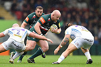 Dan Cole of Leicester Tigers takes on the Exeter Chiefs defence. Aviva Premiership match, between Leicester Tigers and Exeter Chiefs on September 30, 2017 at Welford Road in Leicester, England. Photo by: Patrick Khachfe / JMP