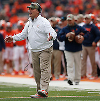 Illinois Fighting Illini head coach Tim Beckman disputes a call during Saturday's NCAA Division I football game against Ohio State University at Memorial Stadium in Champaign, Il., on November 16, 2013. Ohio State won the game 60-35. (Barbara J. Perenic/The Columbus Dispatch)