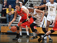 Brittany Boyd of California tries to steal the ball away from Deven Hunter of Oregon State during the game at Haas Pavilion in Berkeley, California on January 3rd, 2014.  California defeated Oregon State, 72-63.
