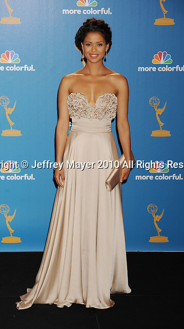 LOS ANGELES, CA. - August 29: Presenter Gugu Mbatha-Raw poses in the press room at the 62nd Annual Primetime Emmy Awards at Nokia Theatre Live L.A. on August 29, 2010 in Los Angeles, California.
