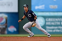 Second baseman Oswaldo Cabrera (10) of the Charleston RiverDogs plays defense in a game against the Greenville Drive on Friday, April 27, 2018, at Fluor Field at the West End in Greenville, South Carolina. Greenville won, 5-4. (Tom Priddy/Four Seam Images)