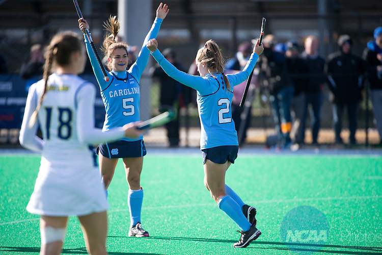 NORFOLK, VA - NOVEMBER 20:  Lauren Moyer (2) and Sam Night (5) of the University of North Carolina celebrate a goal against the University of Delaware during the Division I Women's Field Hockey Championship held at the LR Hill Sports Complex on November 20, 2016 in Norfolk, Virginia.  Delaware defeated North Carolina 3-2 for the national title. (Photo by Jamie Schwaberow/NCAA Photos via Getty Images)