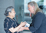 Koko Kondo (left), a survivor of the 1945 atom bombing of Hiroshima, Japan, talks with Bishop Mary Ann Swenson on August 7 in Hiroshima, Japan. Swenson, a United Methodist from the U.S., is vice moderator of the World Council of Churches Central Committee, and is leading a delegation of church leaders from around the world who have come to see for themselves the suffering caused by the bomb, to listen to the survivors and to local church leaders, and to return home recommitted to advocating for an end to nuclear weapons. Kondo is a well-known hibakusha, or atom bomb survivor, who along with her father is mentioned in John Hershey's landmark book about the horror of Hiroshima.