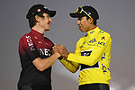 Egan Bernal (COL) Team Ineos wins the overall general classification Yellow Jersey with team mate and defending champion Geraint Thomas (WAL) in 2nd overall on the final podium at the end of Stage 21 of the 2019 Tour de France running 128km from Rambouillet to Paris Champs-Elysees, France. 28th July 2019.<br /> Picture: ASO/Pauline Ballet | Cyclefile<br /> All photos usage must carry mandatory copyright credit (© Cyclefile | ASO/Pauline Ballet)