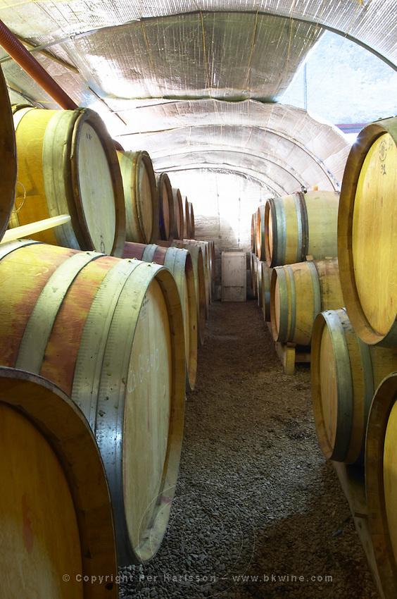 Domaine Le Conte des Floris, Caux. Pezenas region. Languedoc. Barrel cellar. France. Europe.