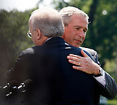 """Washington, D.C. - August 13, 2007 -- Deputy Chief of Staff Karl Rove hugs United States President George W. Bush after announcing he is leaving the Bush Administration at the end of August, 2007 on Monday, August 13, 2007. Rove told reporters """"I am grateful to have been a witness of history. It has been the joy and the honor of a lifetime."""" Rove, a close friend of President Bush has been his most prominent advisor and political strategist..Credit: Aude Guerrucci - Pool via CNP"""