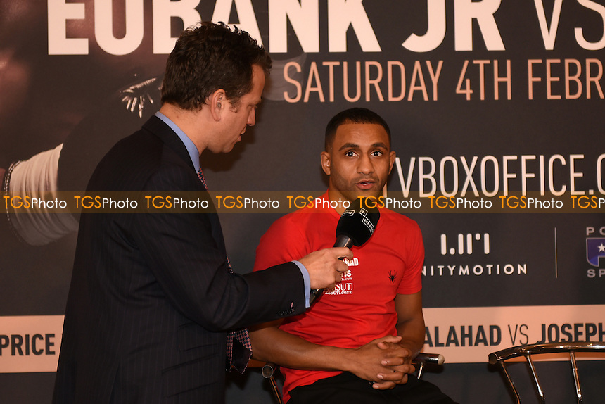 Boxer Kid Galahad is interviewed during a Poxon Sports Press Conference at the Apex Room on 2nd February 2017