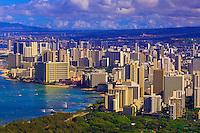 View of the highrises of Waikiki from the Diamond Head Overlook, Honolulu, Oahu, Hawaii, USA