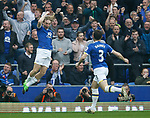 Tom Davies of Everton celebrates scoring the first goal during the English Premier League match at Goodison Park Stadium, Liverpool. Picture date: April 9th 2017. Pic credit should read: Simon Bellis/Sportimage