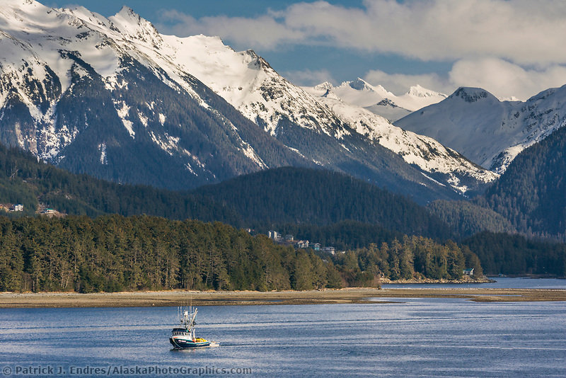 Commercial fishing vessel, purse seiner in Sitka Channel, southeast, Alaska