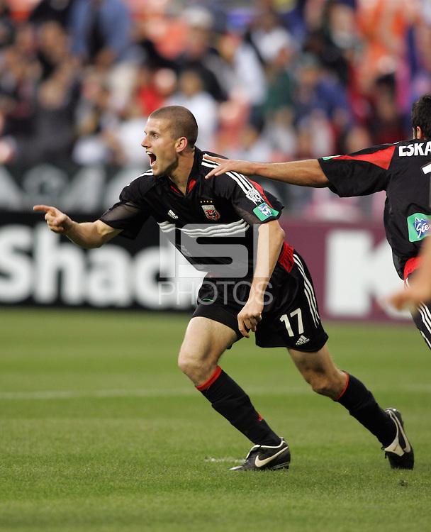 7 May 2005. DC United's Joshua Gros (17) celebrates his goal against the Columbus Crew at RFK Stadium in Washington, DC.