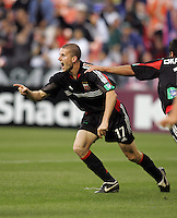 7 May 2005. DC United's Joshua Gros (17) celebrates his goal against the Columbus Crew at RFK Stadium in Washington, DC.