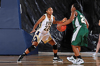 11 November 2011:  FIU's Jerica Coley (22) defends Jacksonville's Crystal Bell (21) in the second half as the FIU Golden Panthers defeated the Jacksonville University Dolphins, 63-37, at the U.S. Century Bank Arena in Miami, Florida.