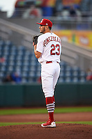 Springfield Cardinals starting pitcher Daniel Poncedeleon (23) gets ready to deliver a pitch during a game against the Northwest Arkansas Naturals on April 26, 2016 at Hammons Field in Springfield, Missouri.  Northwest Arkansas defeated Springfield 5-2.  (Mike Janes/Four Seam Images)