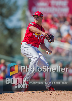 6 March 2016: St. Louis Cardinals pitcher Kevin Siegrist on the mound during a Spring Training pre-season game against the Washington Nationals at Roger Dean Stadium in Jupiter, Florida. The Nationals defeated the Cardinals 5-2 in Grapefruit League play. Mandatory Credit: Ed Wolfstein Photo *** RAW (NEF) Image File Available ***