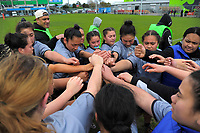 The St Mary's team huddles during the 2017 Hurricanes Secondary Schools girls rugby union final between Manukura College and St Mary's College at Arena Manawatu in Palmerston North, New Zealand on Saturday, 2 September 2017. Photo: Dave Lintott / lintottphoto.co.nz