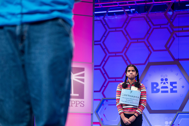 Speller No. 007, Chythanya Murali, age 12, seventh grader at the LISA Academy, Little Rock, Arkansas, competes in the preliminary rounds of the Scripps National Spelling Bee at the Gaylord National Resort and Convention Center in National Habor, Md., on Wednesday, May 29, 2013. Photo by Bill Clark