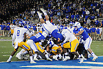 September 12, 2015 - Colorado Springs, Colorado, U.S. - Air Force running back, D.J. Johnson #3, dives over the line for his third touchdown of the game during Mountain West Conference action between the San Jose State Spartans and the Air Force Academy Falcons at Falcon Stadium, U.S. Air Force Academy, Colorado Springs, Colorado.  Air Force defeats San Jose State 37-16.