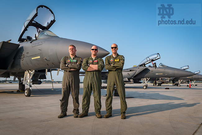 September 11, 2017; United States Air Force officers and Notre Dame alumni who were part of the F-15E air crews that performed the flyover at Notre Dame Stadium prior to the football game against Georgia. From left to right: 1st Lieut. Jordan Hoover '14, Capt. Matthew Mooney '10 and Capt. Trent McMullen '12. (Photo by Matt Cashore/University of Notre Dame)