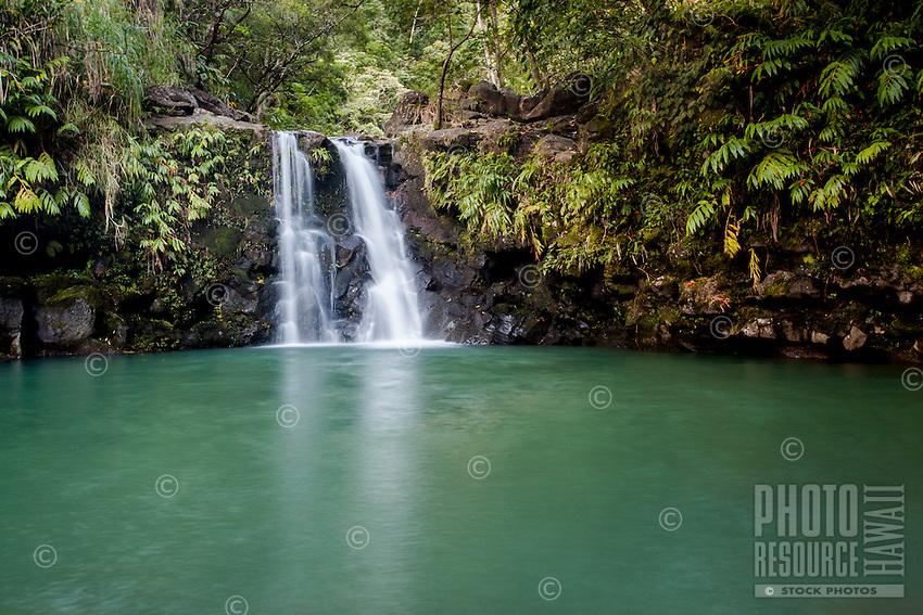 Puohokamoa Falls along the road to Hana, Maui.