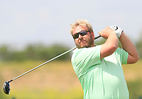 Michael Jonzon (SWE) on the 1st tee during Round 1 of the Challenge de Madrid, a Challenge  Tour event in El Encin Golf Club, Madrid on Wednesday 22nd April 2015.<br /> Picture:  Thos Caffrey / www.golffile.ie