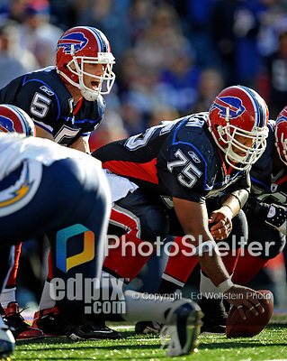 19 October 2008:  Buffalo Bills' quarterback Trent Edwards (5) takes a snap frpm offensive lineman Duke Preston (75) during a game against the San Diego Chargers at Ralph Wilson Stadium in Orchard Park, NY. The Bills defeated the Chargers 23-14 and maintain their first place position in the AFC East with a 5 and 1 record...Mandatory Photo Credit: Ed Wolfstein Photo