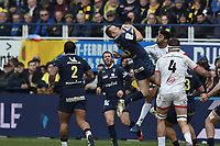 11th January 2020, Parc des Sports Marcel Michelin, Clermont-Ferrand, Auvergne-Rhône-Alpes, France; European Champions Cup Rugby Union, ASM Clermont versus Ulster;  Nick Abendanon (asm) wins possession of the kicked forward ball