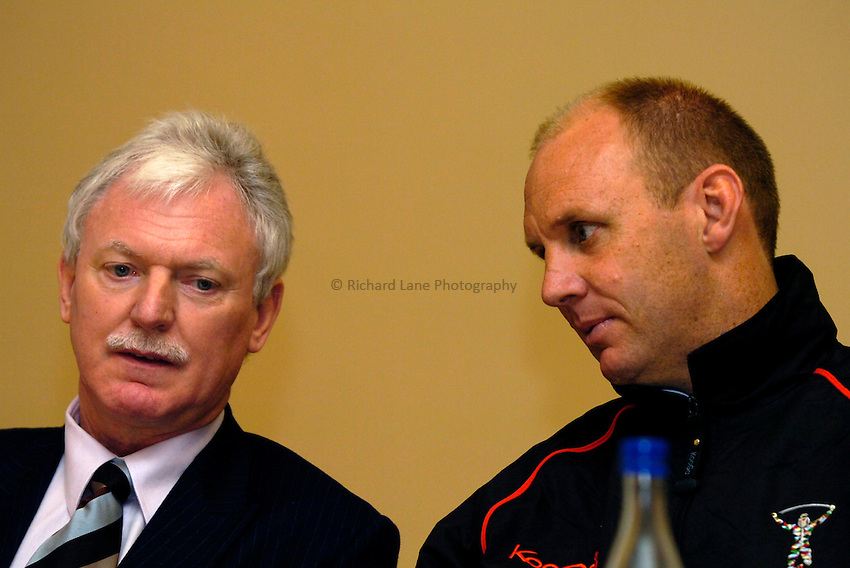 Photo: Richard Lane..Harlequins RL Press Season Media Day. 30/01/2006..Harlequins RL Chairman, Ian Lenagan (lt) with Head Coach, Tony Rea.