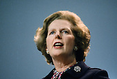 Prime Minister Margaret Thatcher addresses the Conservative Party Conference in Brighton the day after the IRA attempted to assassinate her with a bomb at the Grand Hotel.