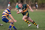 Nigel Watson cuts back infield past Brendon Maloney. CMRFU Counties Power Premier Club Rugby game between Patumahoe & Pukekohe played at Patumahoe on April 12th, 2008..The halftime score was 10 all with Pukekohe going on to win 23 - 18.