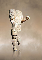 9th century BC Giants of Mont'e Prama  Nuragic stone statue of an archer, Mont'e Prama archaeological site, Cabras. Museo archeologico nazionale, Cagliari, Italy. (National Archaeological Museum) - Art Background