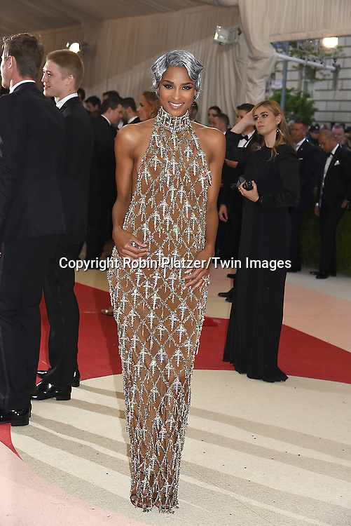 Ciara in H and M dress attends the Metropolitan Museum of Art Costume Institute Benefit Gala on May 2, 2016 in New York, New York, USA. The show is Manus x Machina: Fashion in an Age of Technology. <br /> <br /> photo by Robin Platzer/Twin Images<br />  <br /> phone number 212-935-0770