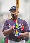 4 April 2014: Atlanta Braves left fielder Justin Upton awaits his turn in the batting cage prior to the Washington Nationals Home Opening Game at Nationals Park in Washington, DC. The Braves edged out the Nationals 2-1 in their first meeting of the 2014 MLB season. Mandatory Credit: Ed Wolfstein Photo *** RAW (NEF) Image File Available ***