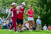Jenny Shin (KOR) and Lexi Thompson (USA) depart the first tee during Saturday's third round of the 72nd U.S. Women's Open Championship, at Trump National Golf Club, Bedminster, New Jersey. 7/15/2017.<br /> Picture: Golffile | Ken Murray<br /> <br /> <br /> All photo usage must carry mandatory copyright credit (&copy; Golffile | Ken Murray)