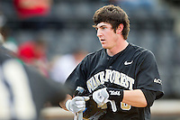 Kevin Conway (8) of the Wake Forest Demon Deacons during the game against the North Carolina State Wolfpack at Wake Forest Baseball Park on March 16, 2013 in Winston-Salem, North Carolina.  The Demon Deacons defeated the Wolfpack 13-4.  (Brian Westerholt/Four Seam Images)